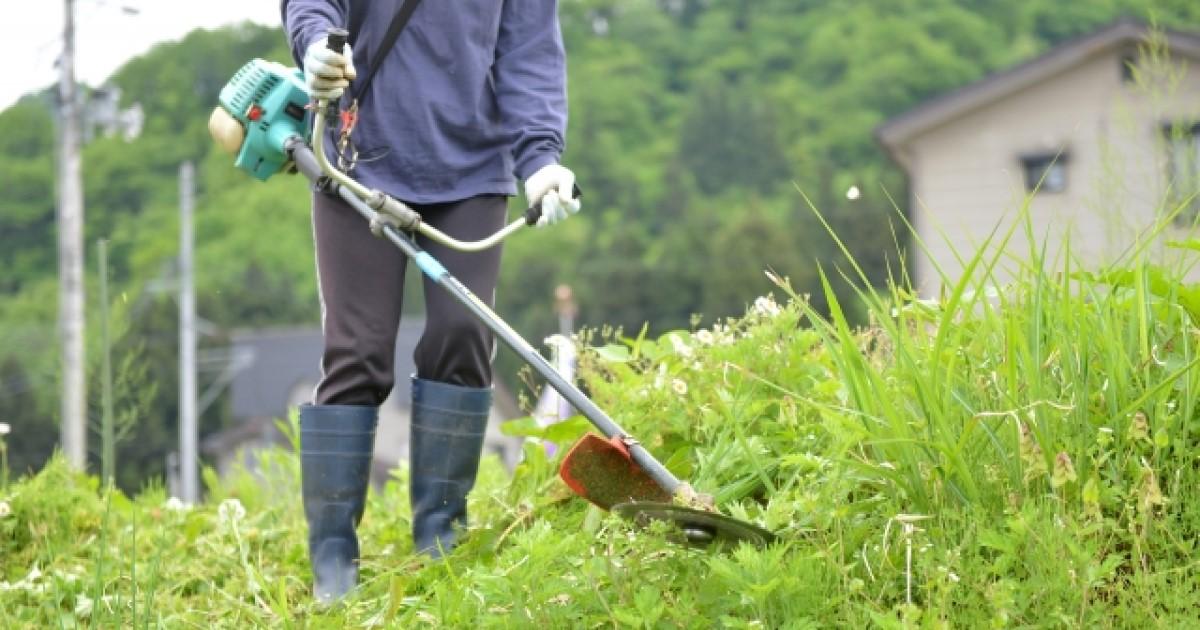 草刈り 急な斜面